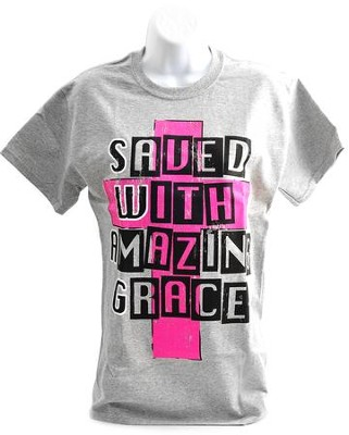 SWAG, Saved with Amazing Grace Shirt, Gray, Large  -