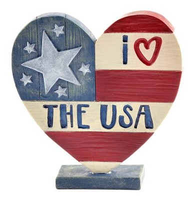 I Heart the USA Heart Figurine  -     By: Barbara Lloyd