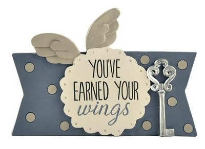 You've Earned Your Wings Plaque with Key and Wings  -     By: Barbara Lloyd