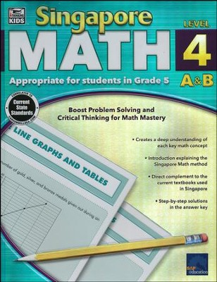 Singapore Math Level 4 A & B - Grade 5, Ages 10-11    -