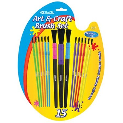 Assorted Size Kid's Watercolor Beginner Paint Brush Set Pack of 15 Brushes)  -