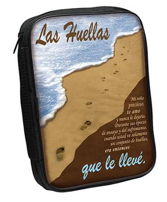 Footprints Bible Cover, Brown and Blue, Spanish, Large  -