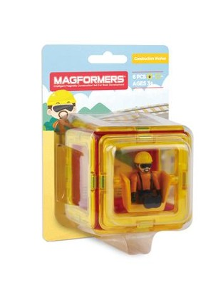 Magformers Figure Plus, Construction Worker, 6 Piece Set  -