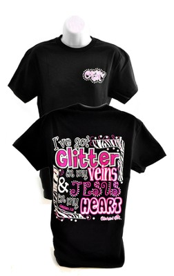 I've Got Glitter in My Veins, Cherished Girl Style Shirt, Black, Extra Large  -