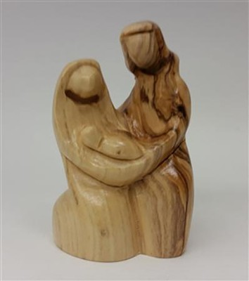 Holy Family Carved Wood Figurine, 3.5 inches   -