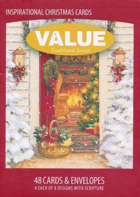 Traditional Scenes Value Christmas Cards, Box of 48  -