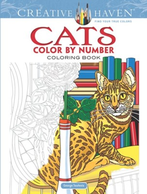 Cats Color by Number Coloring Book  -     By: George Toufexis