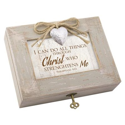 I Can Do All Things Through Christ Music Box with Heart Locket  -