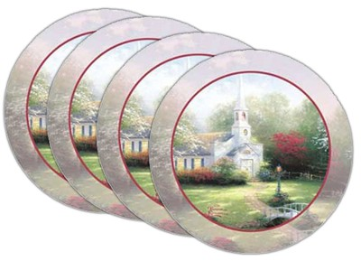 Thomas Kinkade Hometown Chapel Coasters, Set of 4  -     By: Thomas Kinkade