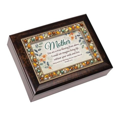 Mother, You are a True Blessing From Above, Jeweled Amber Music Box  -