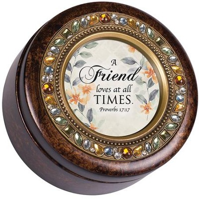 A Friend Loves At All Times, Round Jeweled Amber Music Box  -