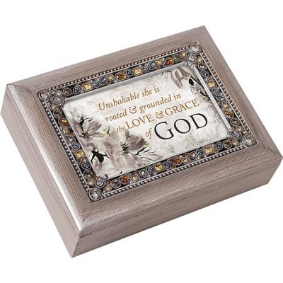 Unshakable She is Rooted & Grounded in the Love & Grace of God, Jeweled Music Box  -