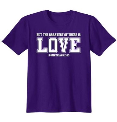 Christian Greatest Of These Is Love, Shirt, Purple, Medium  -