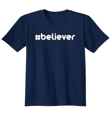 Religious - #Believer Hashtag, Shirt, Navy, Large  -