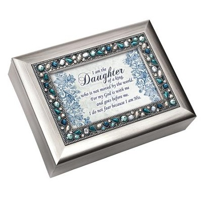 I Am the Daughter of a King, Jeweled Silver Music Box  -