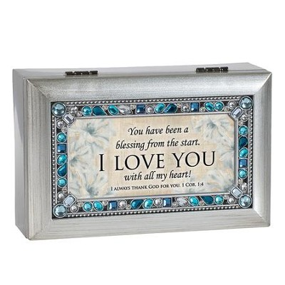 You Have Been A Blessing From the Start, I Love You, Jeweled Silver Music Box  -