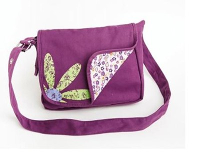 FaithGirlz Messenger Bag Bible Cover, Grape, Medium   -