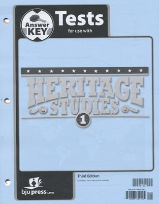 BJU Press Heritage Studies Student Test Key, Grade 1, 3rd Edition   -