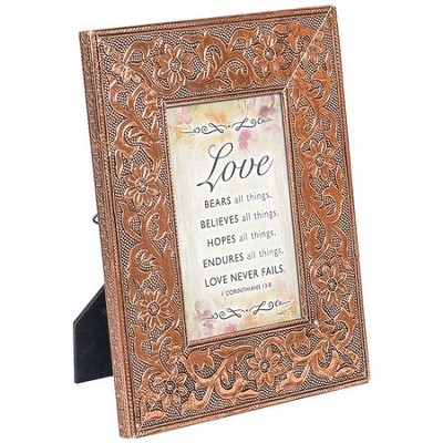 Love Bears All Things, Jeweled Copper Plaque  -