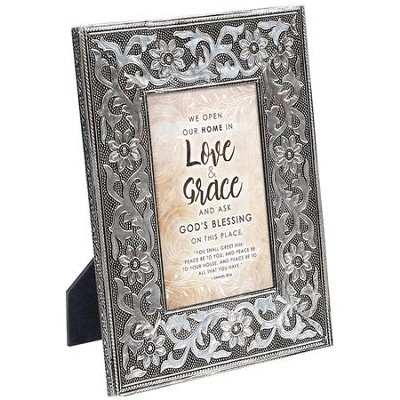 We Open Our Home in Love & Grace Plaque, Silver  -
