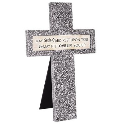 May God's Grace Rest Upon You Easel Cross, Silver  -