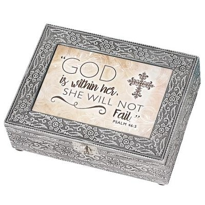 God is Within her, She Will Not Fail, Silver Metal Music Box  -