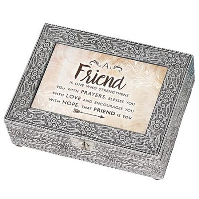 A Friend is One Who Strengthens, Silver Metal Music Box  -