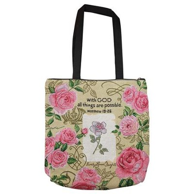 With God, All Things Are Possible, Roses, Tote Bag  -     By: Sandy Clough