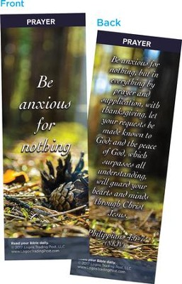 Be Anxious For Nothing Bookmarks, Pack of 25  -