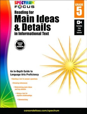 Spectrum Reading for Main Ideas and Details in Informational Text, Grade 5  -