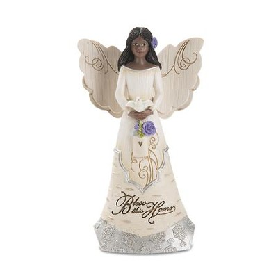 Bless This Home Angel Holding Bird Figurine  -