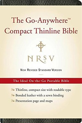 NRSV Go-Anywhere Compact Thinline Bible--bonded leather, black  -