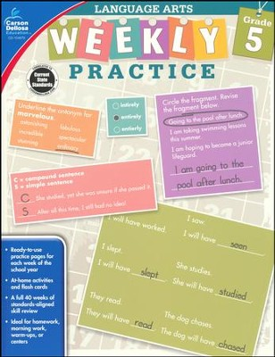 Weekly Practice Language Arts, Grade 5  -