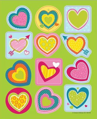 Bright Hearts Shape Stickers, Grades PreK-5  -