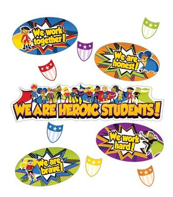 Super Power Heroic Students Mini Bulletin Board Set, Grades K-5  -
