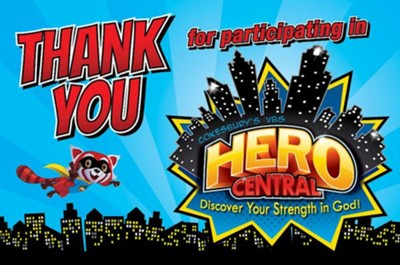 VBS 2017 Hero Central: Discover Your Strength in God! - Thank You Postcards (Pkg of 25)  -