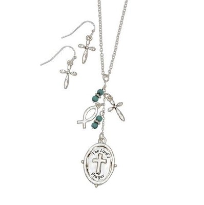 Lord's Prayer Cross Charm, Necklace and Earring Set, Silver  -