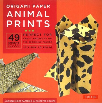 Origami Paper Animal Prints with 8 page booklet  -