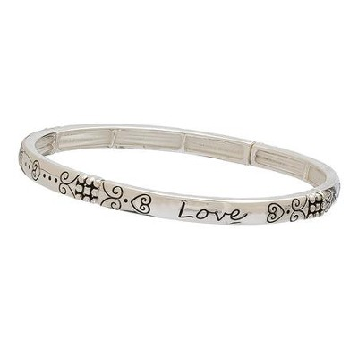 Love, Stretch Bracelet, Silver  -