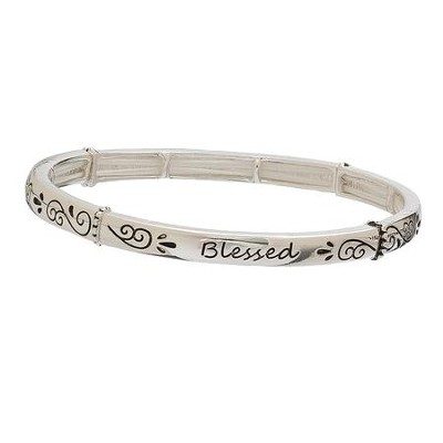 Blessed, Stretch Bracelet, Silver  -