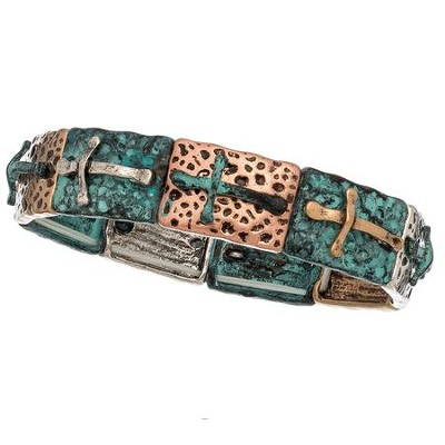 Burnished Bracelet, Tri Tone with Crosses  -