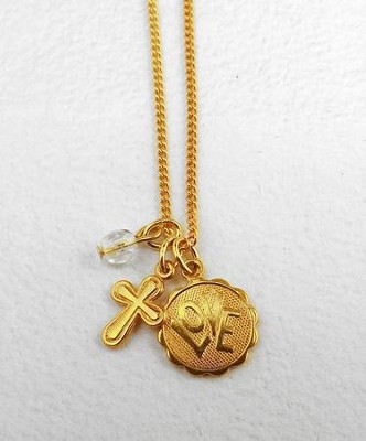 Gold Love Disc with Cross on 18 Chain  -