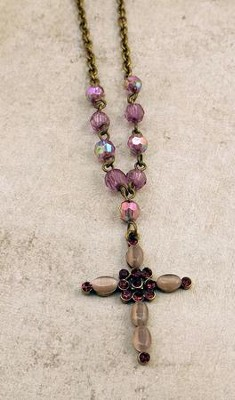 Brass Oxidized Cross Pendant with Light Amethyst Stones  -