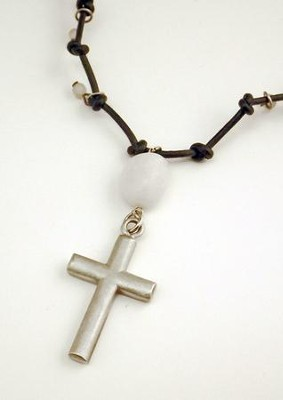 Black Leather Expandable Necklace with Agate Stone and Pewter Cross  -