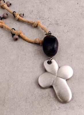 Natural Suede Expandable Pendant with Charoite Stone and Pewter Cross  -