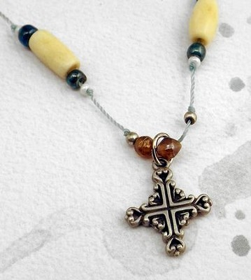 Aqua and Bone 18 Cord with Pewter Filagree Cross  -