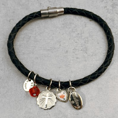 Silver Cross Disc Leather Charm Bracelet  -
