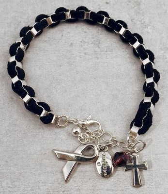 Braided Suede Bracelet with Silver Ribbon and Cross Charms  -