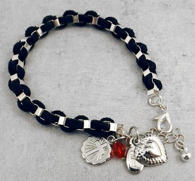Braided Suede Bracelet with Silver Cross Disc and Heart Charms  -