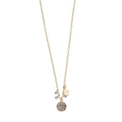 Crystal Stone and Cross Charm Necklace  -